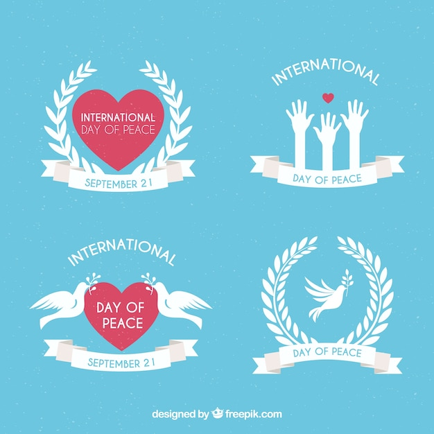 Collection of peace labels with doves and hearts
