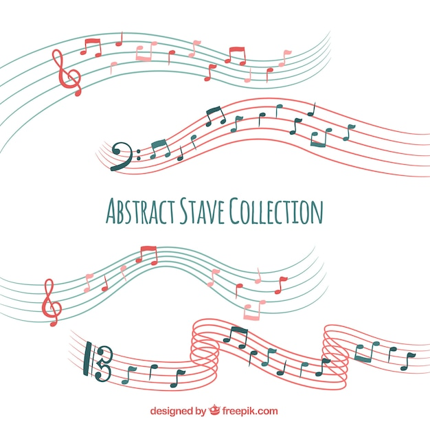 Коллекция пентаграммы с музыкальными нотами Бесплатные векторы