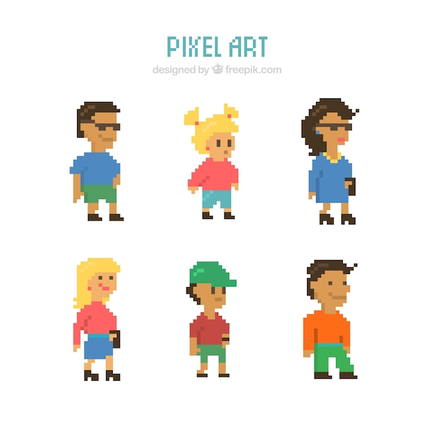 Collection of people and pixelated\ children