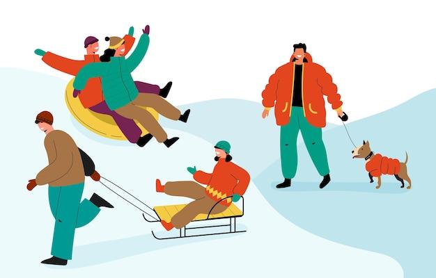冬のアクティビティをしている人々のコレクション 無料ベクター