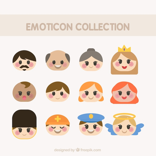 Collection of people emoticons in flat design Free Vector