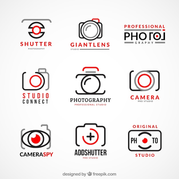 Collection of photography logos Free Vector