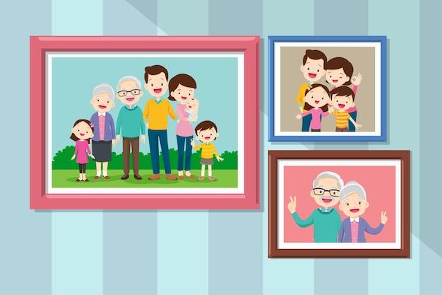 프레임에 가족 구성원의 사진 모음. 액자 벽 사진 또는 웃는 사람들과 함께 사진 묶음. 할머니와 할아버지가 함께 사진 프레임. 프리미엄 벡터