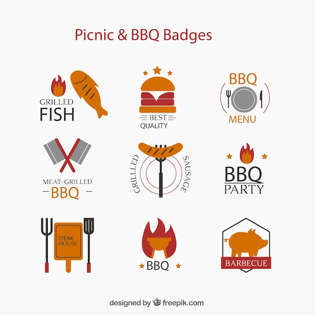 Collection of picnic and barbecue label