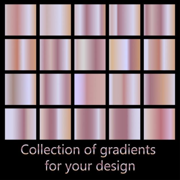핑크 그라디언트의 컬렉션입니다. 패션 디자인을위한 로즈 골드 그라데이션 컬렉션. 프리미엄 벡터