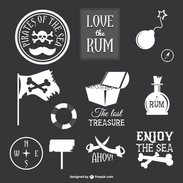 collection of pirate icons vector free download