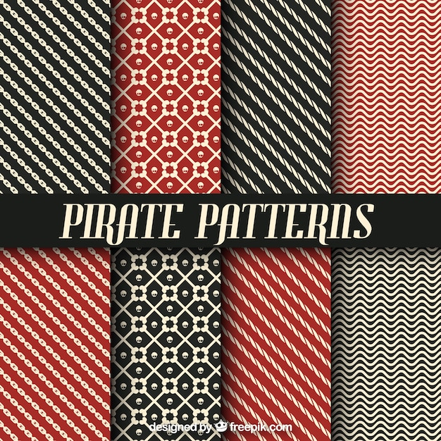 Collection of pirate patterns with abstract forms