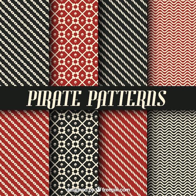 Коллекция пиратских узоров с абстрактными формами Бесплатные векторы