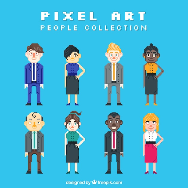 Collection of pixelated business people