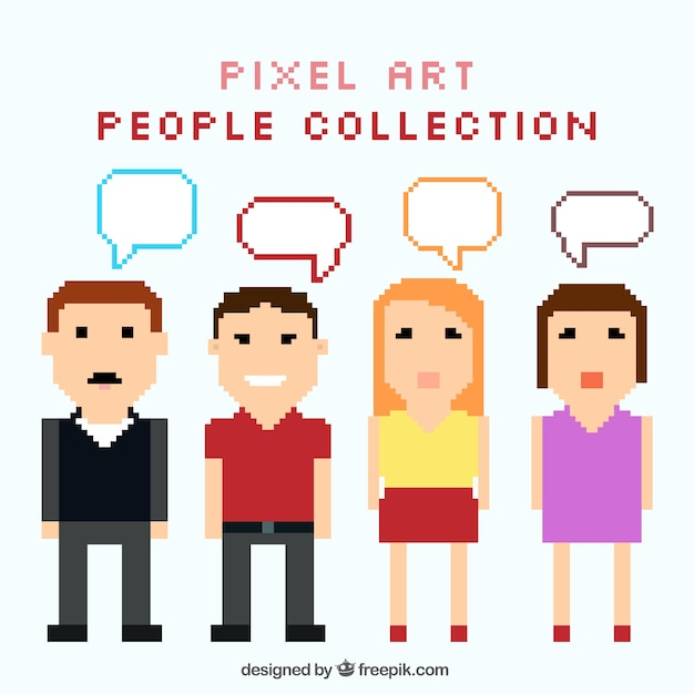 Collection of pixelated people with speech\ bubbles