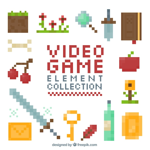 Collection of pixelated video game item Vector | Free Download