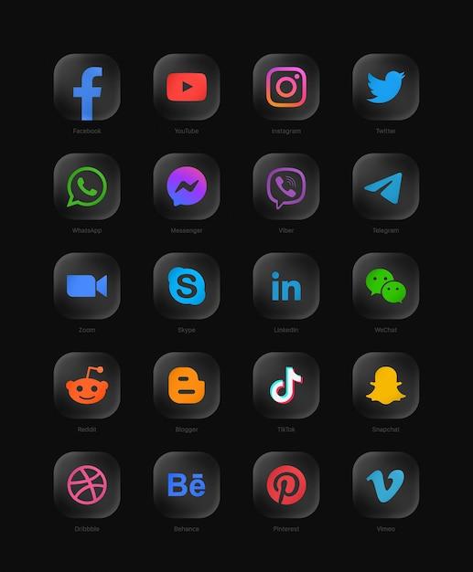 人気のソーシャルメディアネットワークのコレクションモダンな丸みを帯びた黒いガラスのwebアイコン Premiumベクター