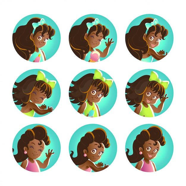若い黒髪のアフリカの女の子の肖像画のコレクション。 illustrarion Premiumベクター