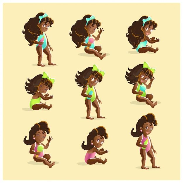さまざまなポーズで若い黒い髪のアフリカの女の子の肖像画のコレクション。 illustrarion Premiumベクター