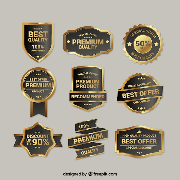 Collection of premium quality golden insignia Free Vector