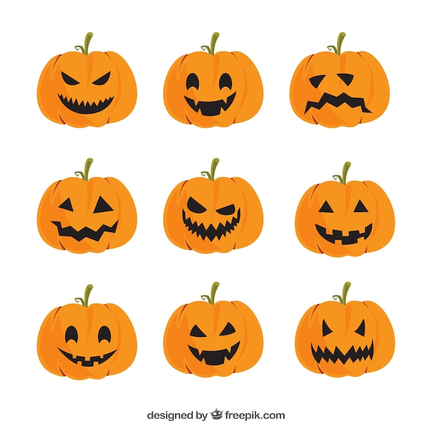 Collection of pumpkins with faces Free Vector
