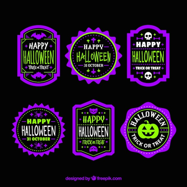 Collection of purple and green halloween stickers Free Vector