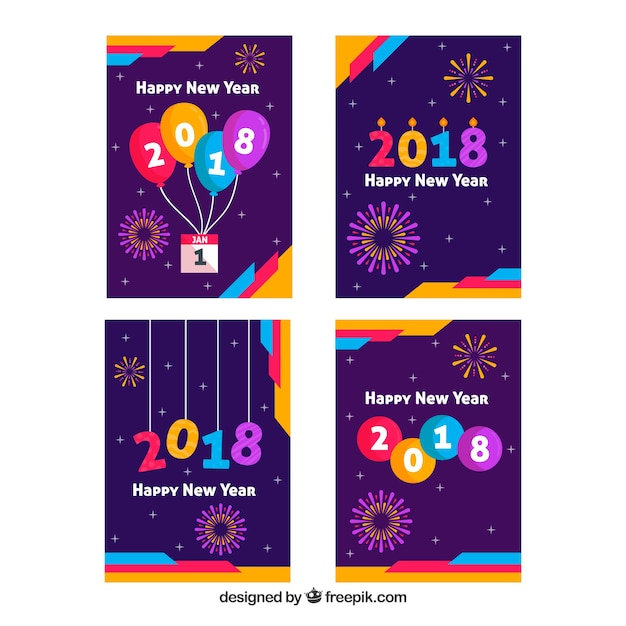 Collection of purple new year greeting cards