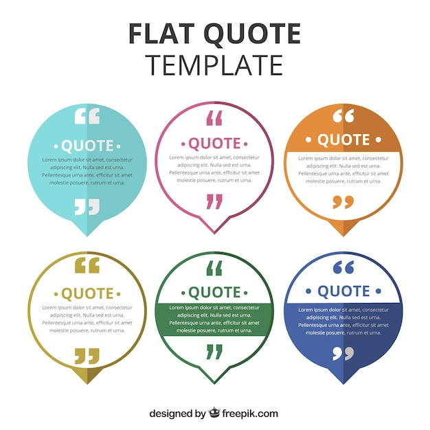 collection of quote template in flat design vector free download