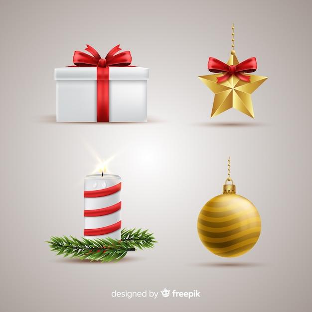 現実的なクリスマス要素のコレクション 無料ベクター