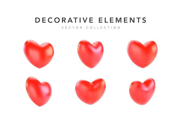 Коллекция реалистичных красных сердечек на день святого валентина Premium векторы