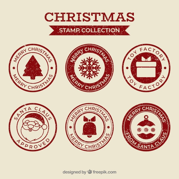 Collection of red christmas stamps