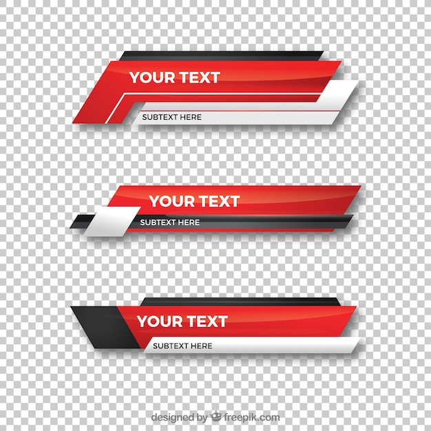 Collection Of Red Lower Third Vector Free Download