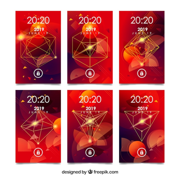 Collection of red mobile wallpapers with bright geometric shapes