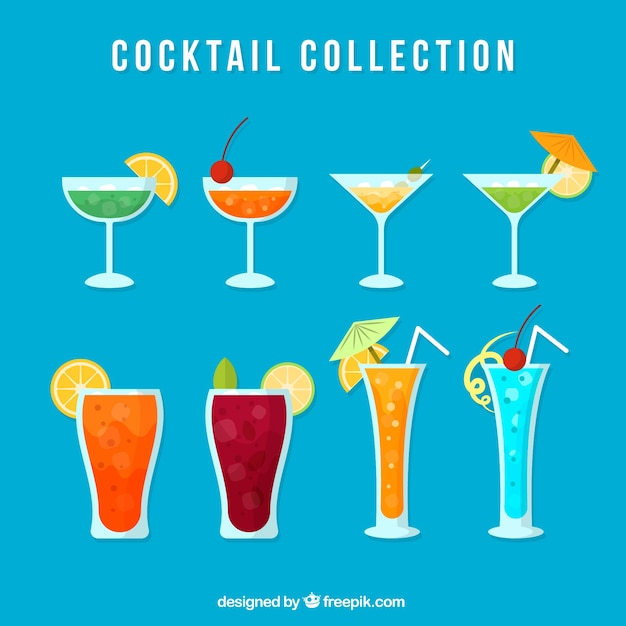 Collection of refreshing cocktail in flat design