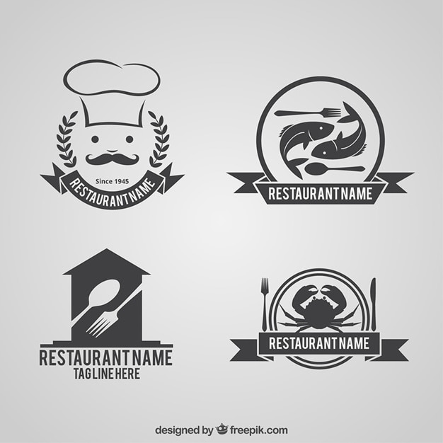 Collection of restaurant logos vector free download