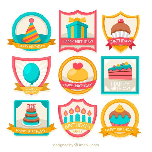 Collection of retro birthday badges
