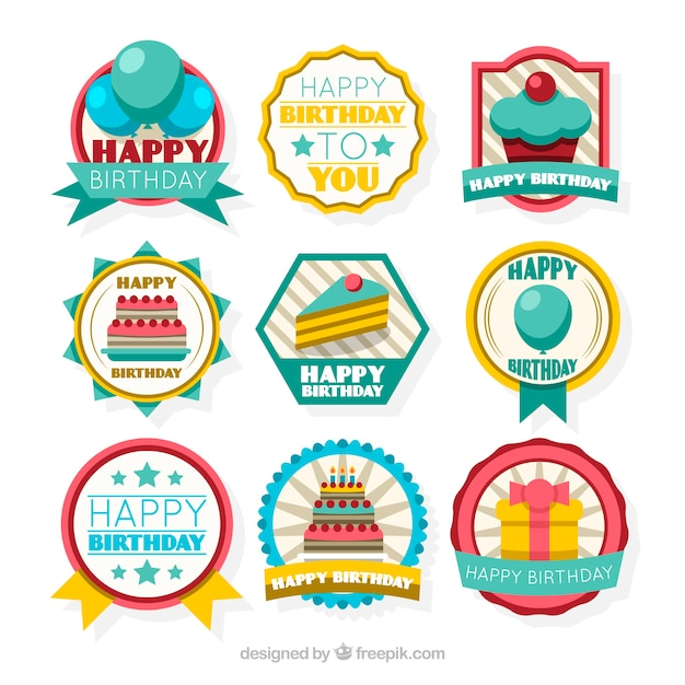 Collection of retro birthday sticker in flat design free vector
