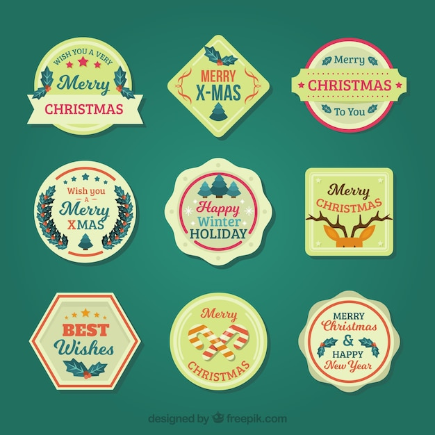 Collection of retro christmas badges