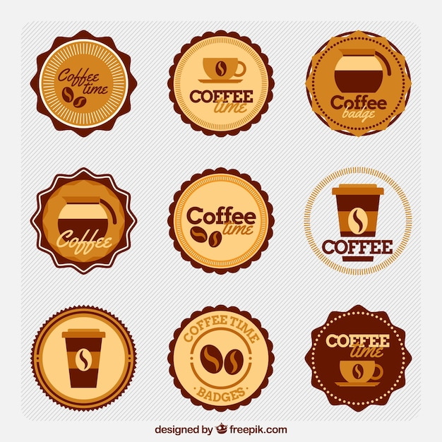 Collection of retro coffee shop stickers