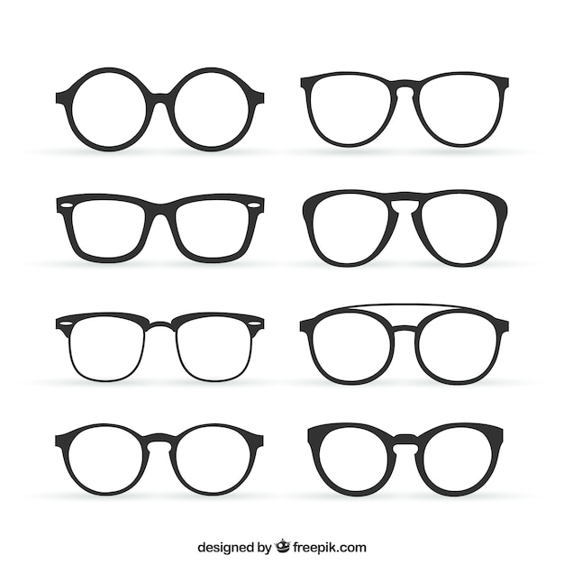 Collection of retro glasses Free Vector