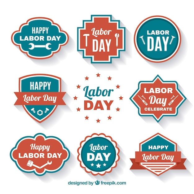 Collection of retro labor day stickers
