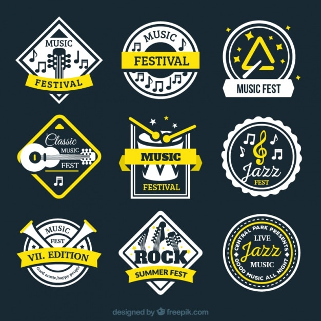 Collection Of Retro Music Festival Stickers Vector Free Download