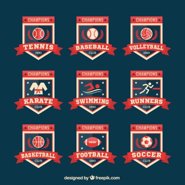 Collection of retro sport badges