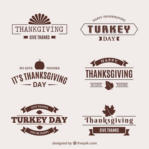 Collection of retro thanksgiving stickers