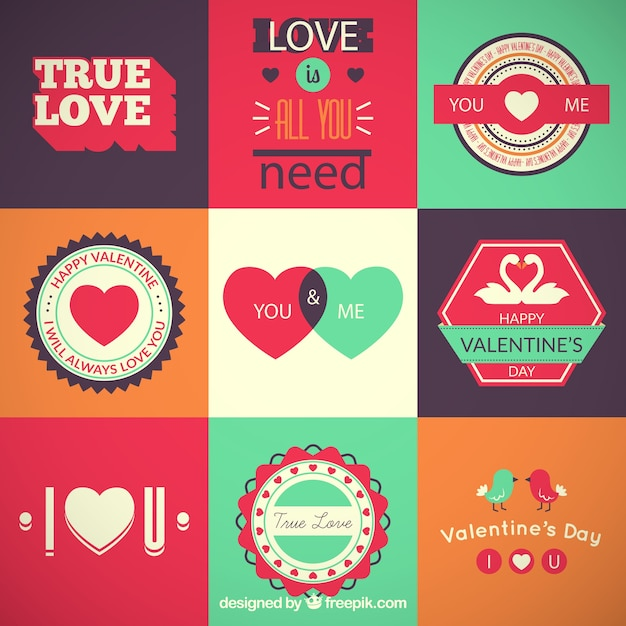 Collection Of Retro Valentines Day Labels Vector | Free Download