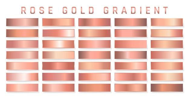 ローズゴールドのメタリックグラデーションのコレクション。金色の効果のある鮮やかなプレート。 Premiumベクター