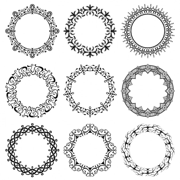 Collection of round vintage frames Free Vector