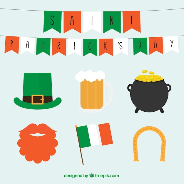 Collection of saint patrick typical elements