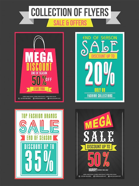 collection of sale and discount offer flyers templates and banners