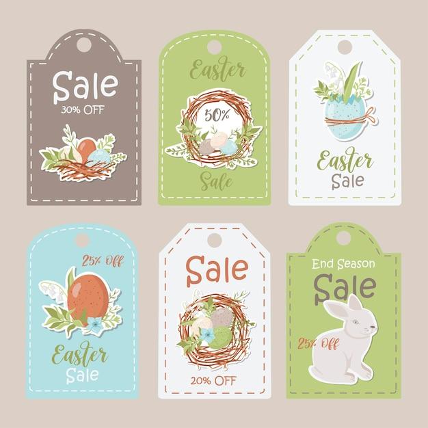 セールイースタータグのコレクション。印刷可能なカードテンプレート。 Premiumベクター