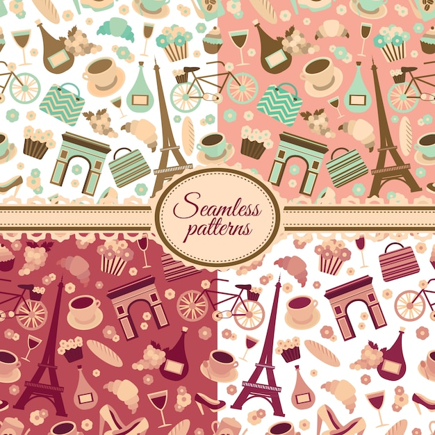 Collection Of Seamless Patterns With Paris Landmarks And France