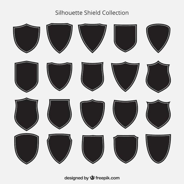 Collection of shield silhouettes Free Vector