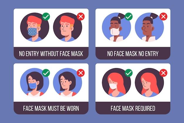 医療用マスクの着用に関する標識のコレクション 無料ベクター