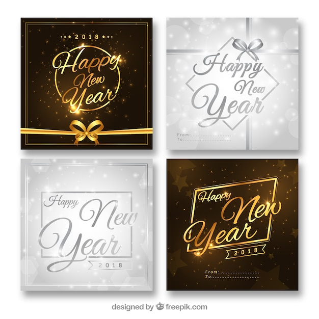 Collection of silver and golden new year cards