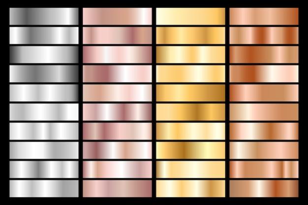 シルバー、クローム、ゴールド、ローズゴールド、ブロンズのメタリックグラデーションのコレクション。 Premiumベクター